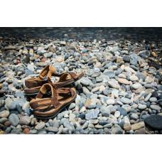 Jeweled Leather Flat Sandals