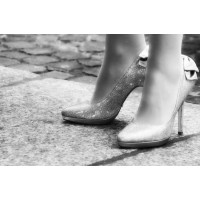 Two Part White High Heeled Shoes